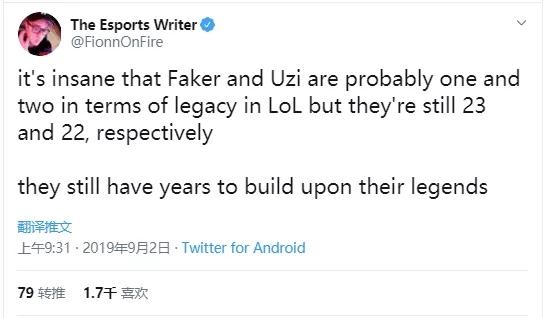 ESPN撰稿人 :Faker和Uzi仍有时间建立传奇